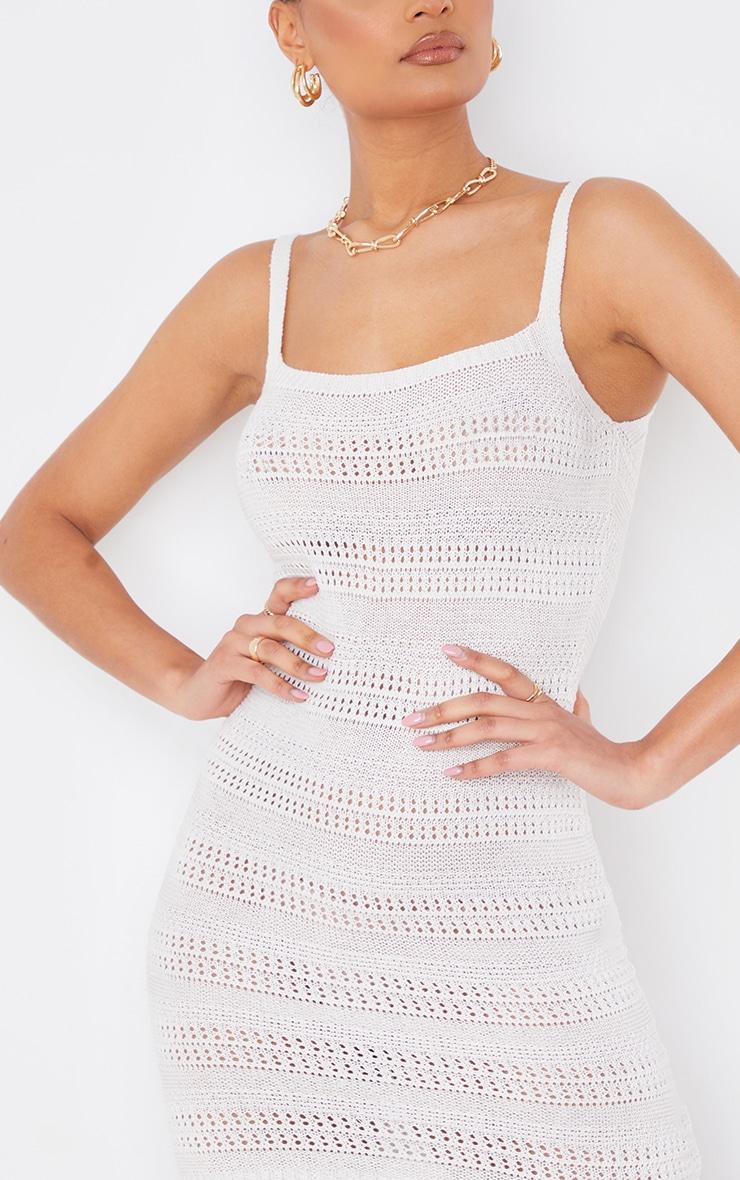 Cream Crochet Knitted Mini Dress 4