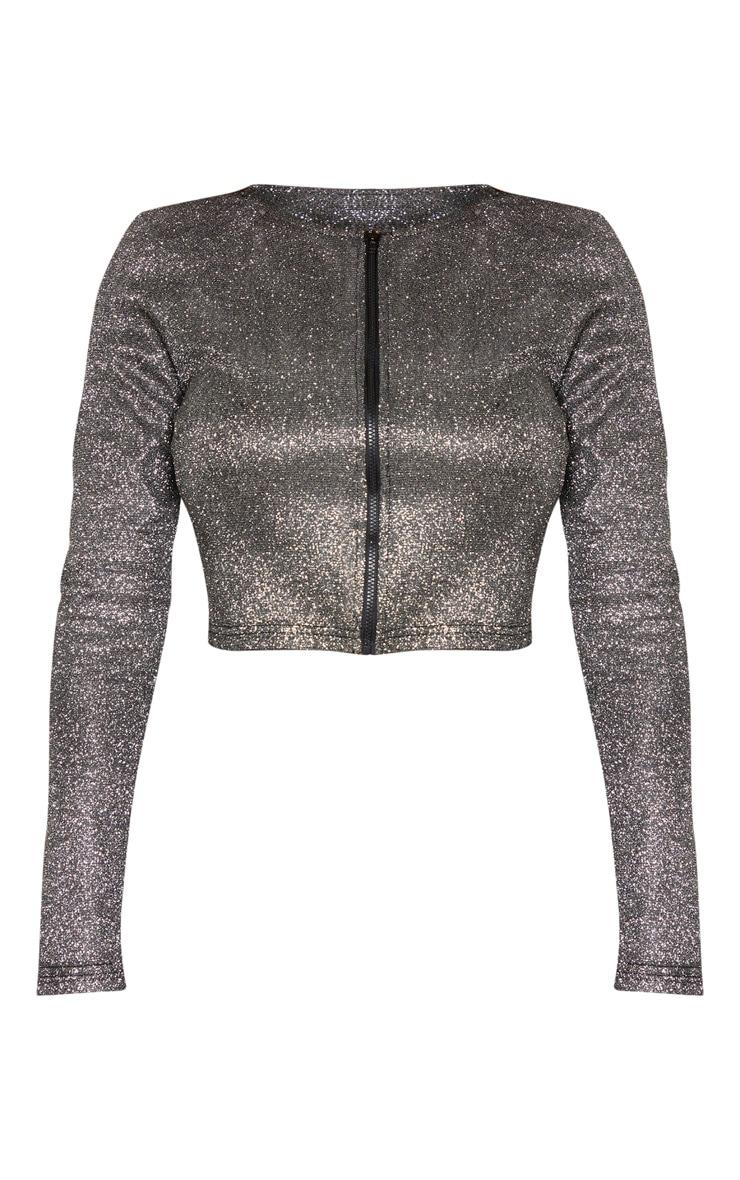 Shape Black Glitter Long Sleeve Zip Front Crop Top 3