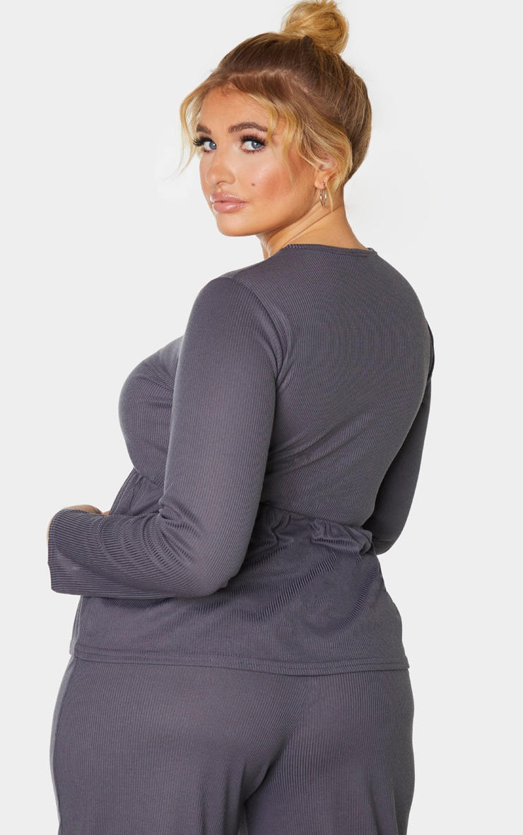 Plus Charcoal Ribbed Long Sleeve Smock Top 2