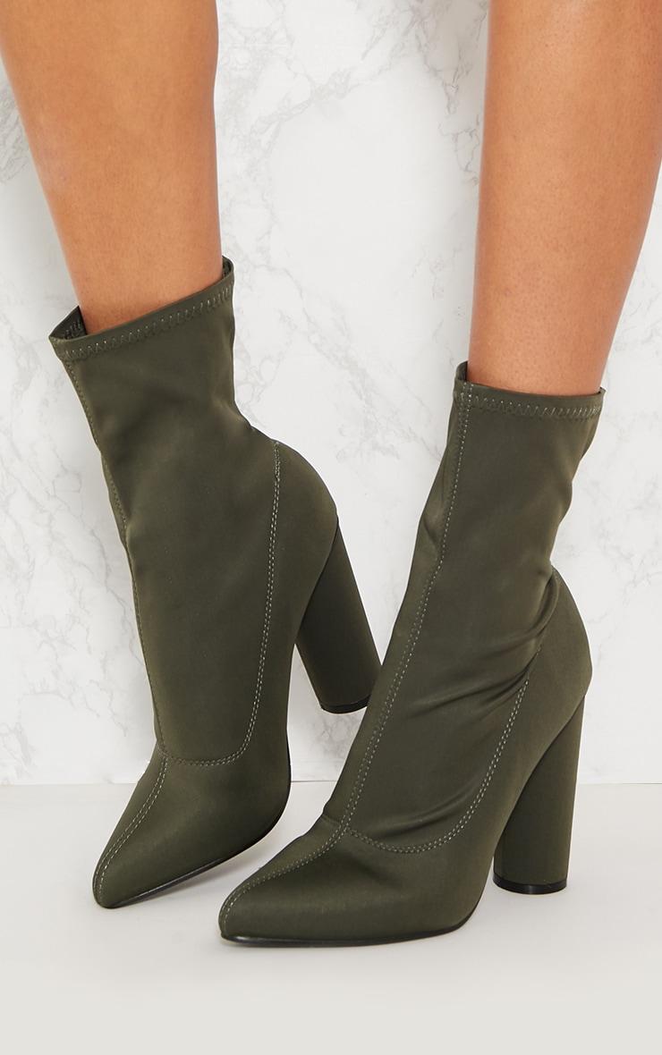 Khaki Block Heel Sock Boot 2