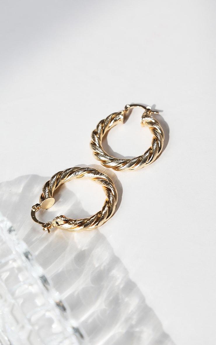 Gold Rope Twist Hoop Earrings 1