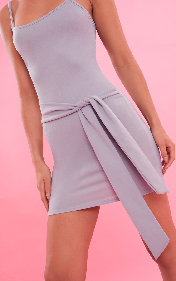 Dove Grey Crepe Straight Neck Tie Front Bodycon Dress 6