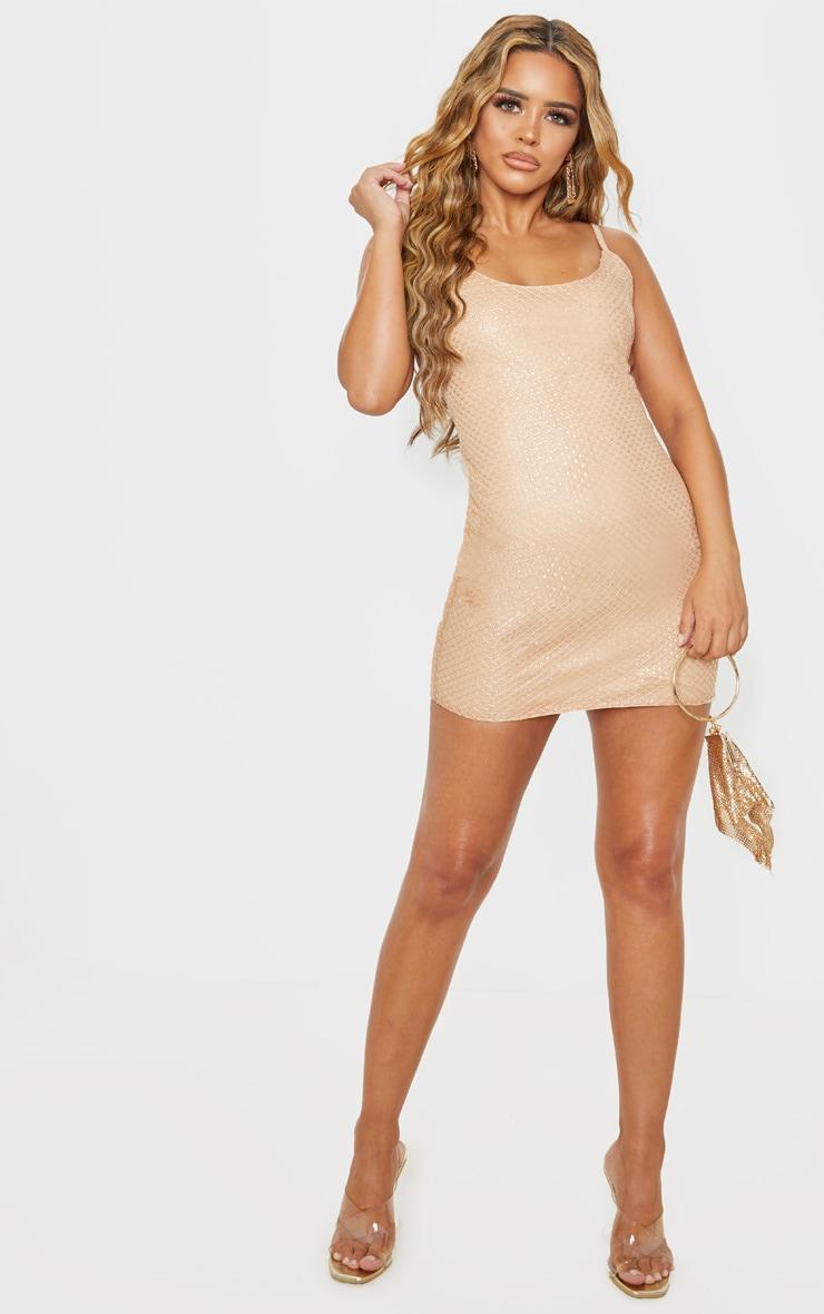 Petite Gold Embellished Mini Dress 3