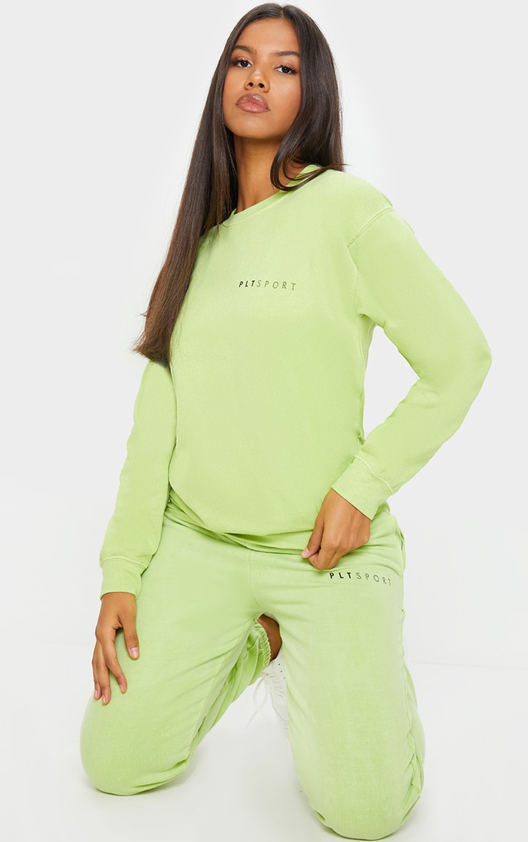 PRETTYLITTLETHING Lime Wash Sports Sweater 3
