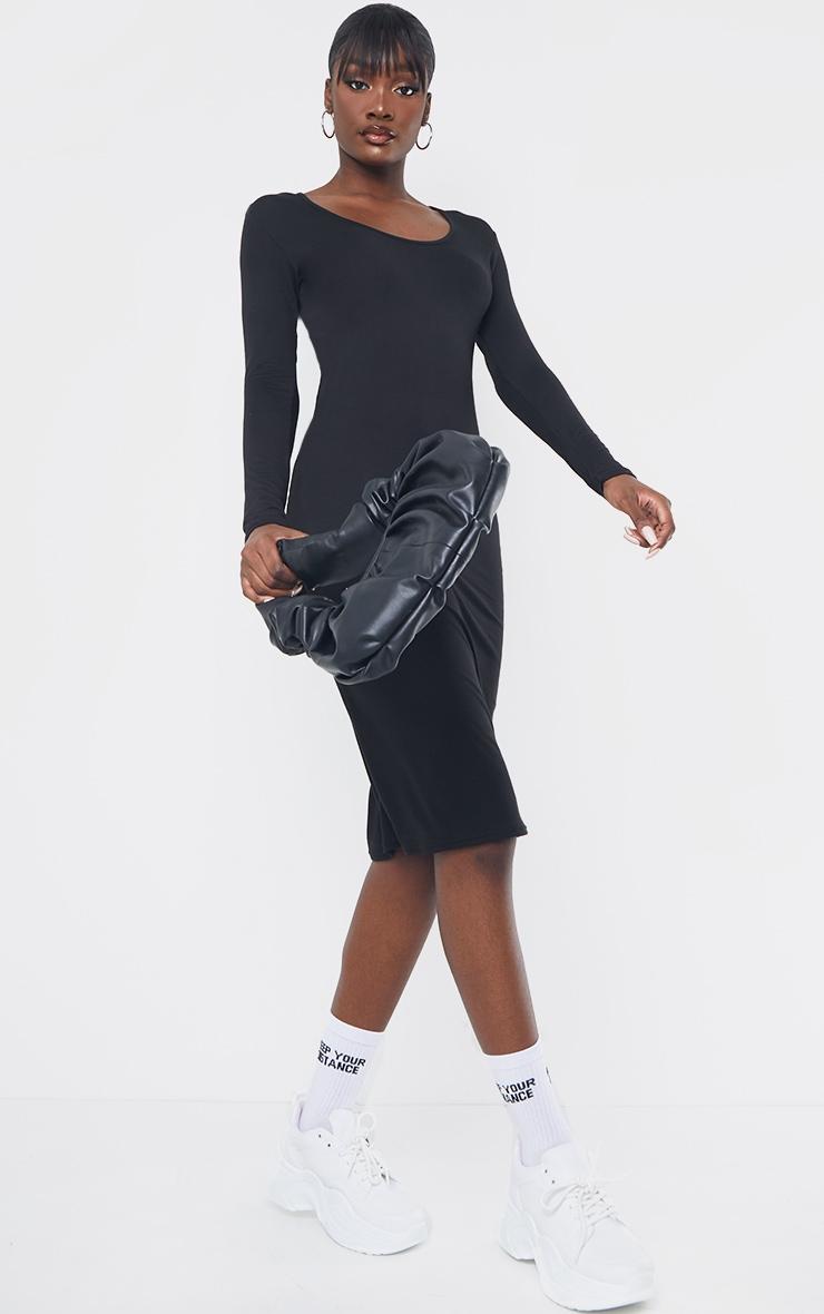 Tall Black Long Sleeve Midi Dress 4