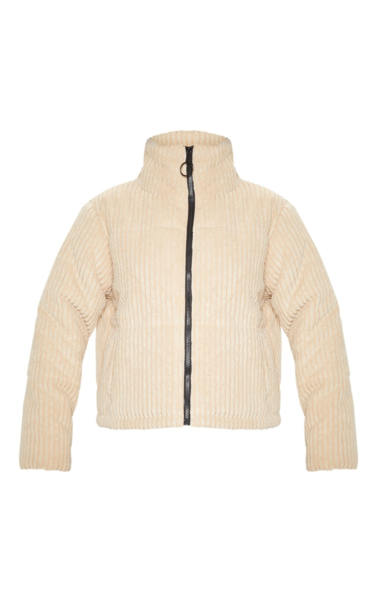 Stone Ribbed Textured Oversized Puffer 3