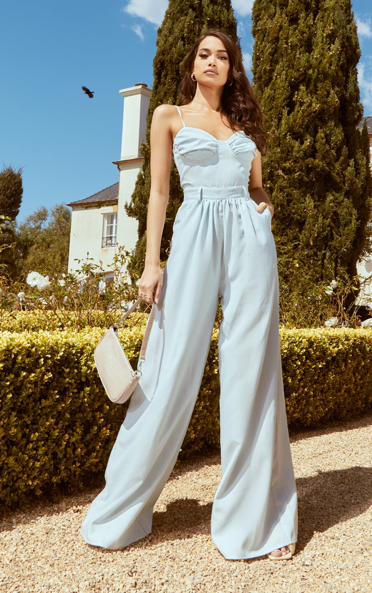 Pale Blue Ruched Cup Strappy Wide Leg Jumpsuit