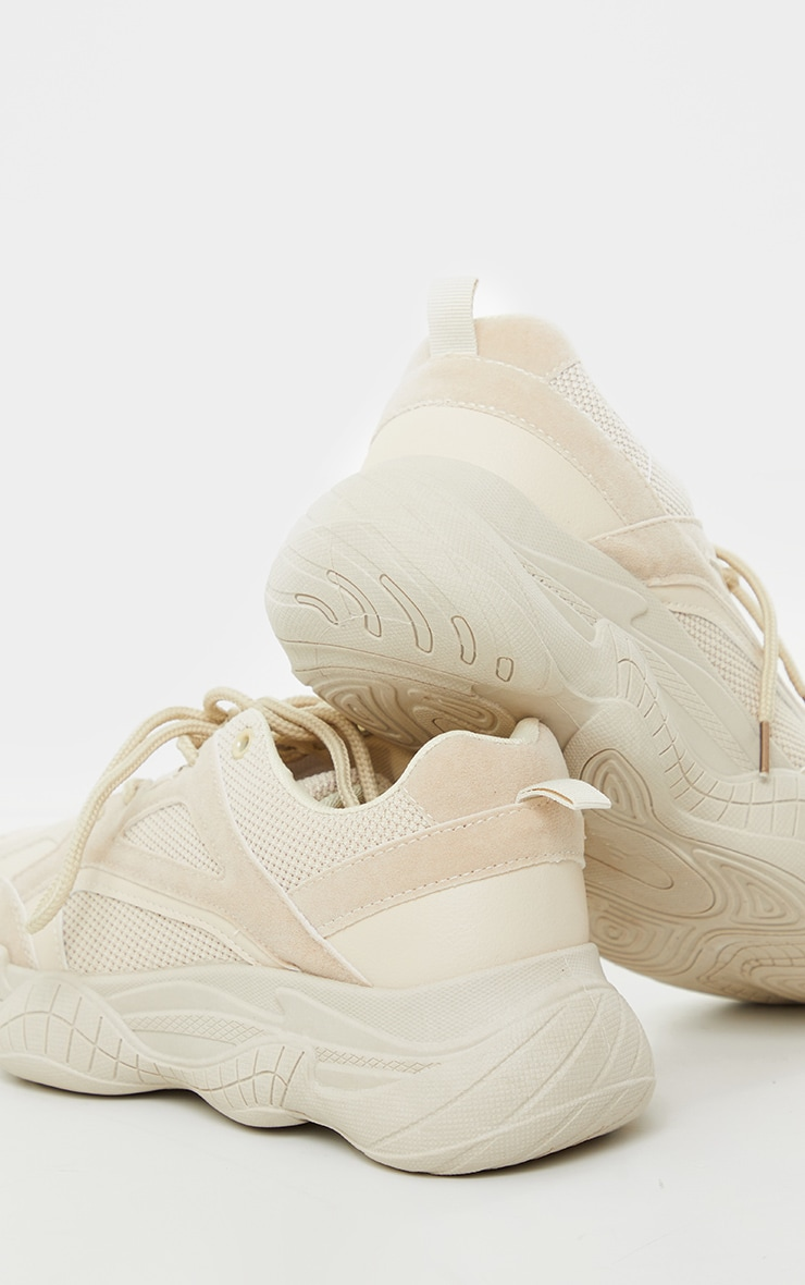 Sand Bubble Sole Mesh And Faux Suede Trainers 4