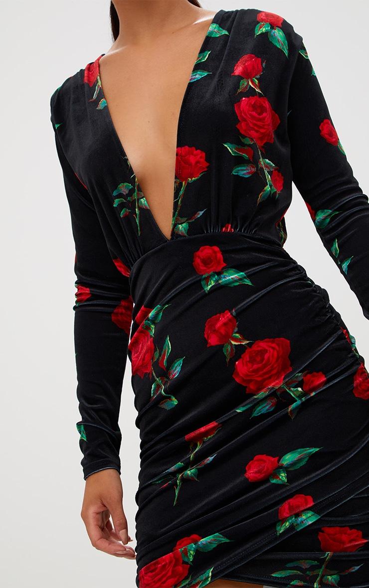 Black Floral Printed Velvet Ruched Bodycon Dress  6