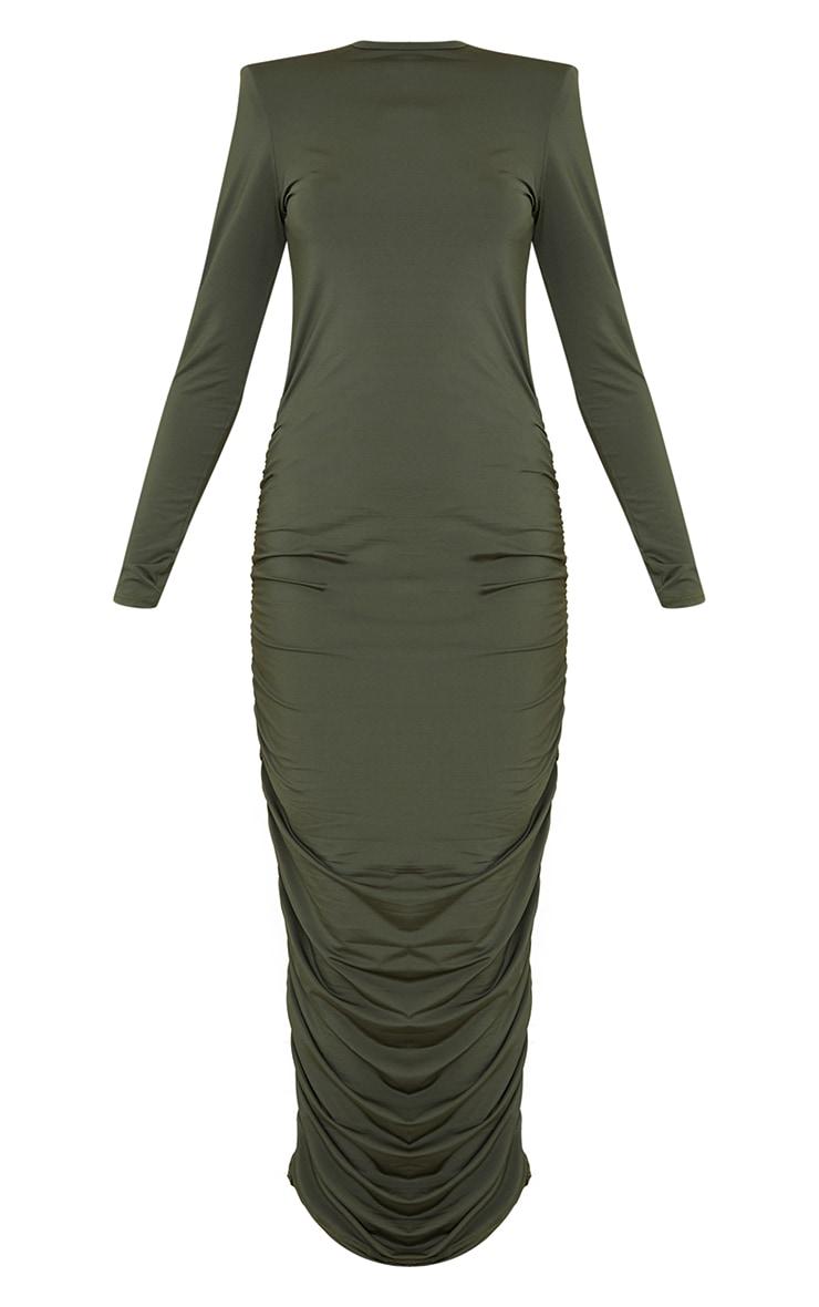 Khaki Slinky Shoulder Pad Ruched Long Sleeve Midaxi Dress 5