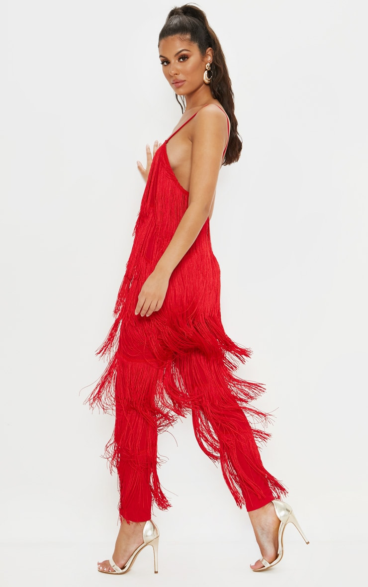 Red Tassel Plunge Jumpsuit 4