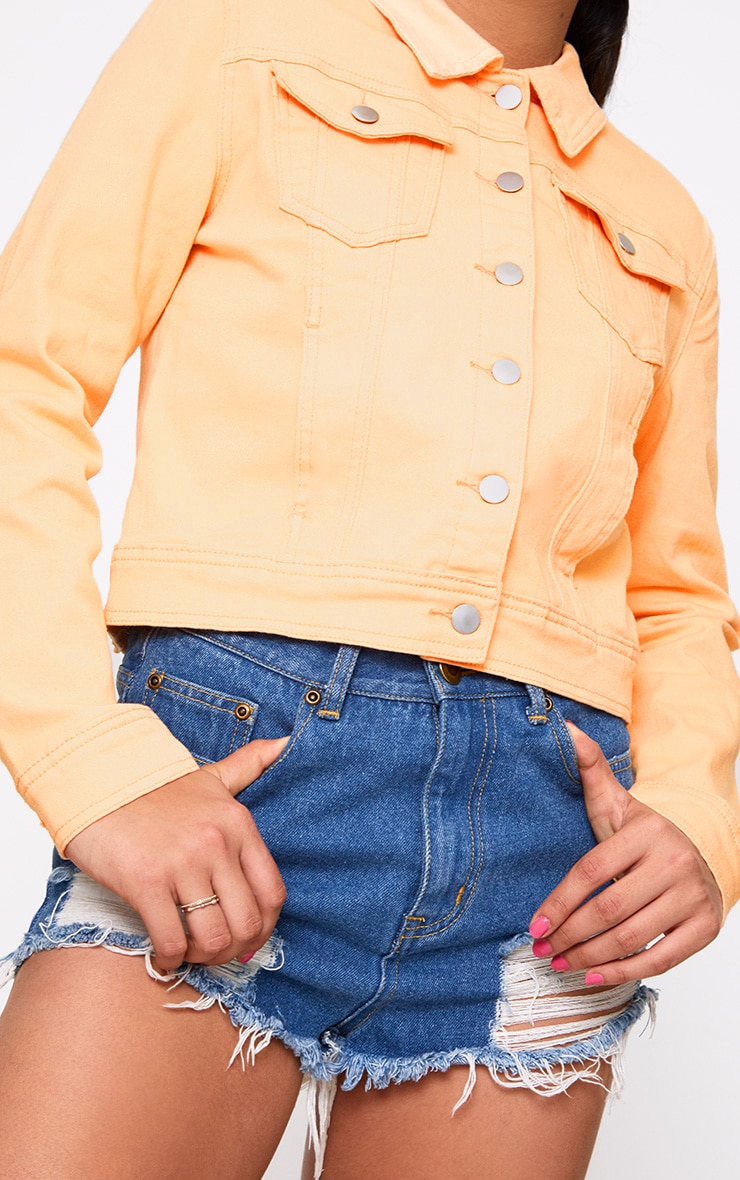 Peach Cropped Denim Jacket 5