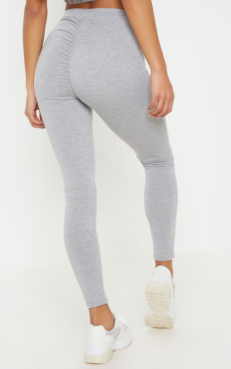 Grey Marl Ruched Back Jersey Legging 4