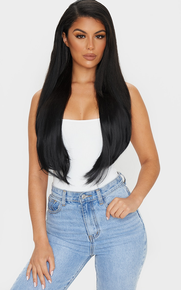 LullaBellz 22 5 Piece Straight Clip In Hair Extensions Natural Black 3