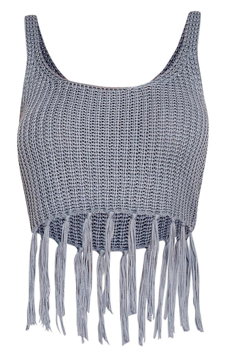 Marisol Dusty Blue Tassel Crochet Bralet 3
