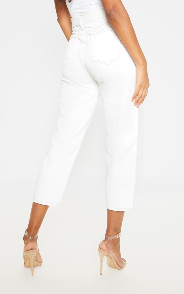Ecru With Contrast Stitch Belted Straight Leg Cropped Jeans 4