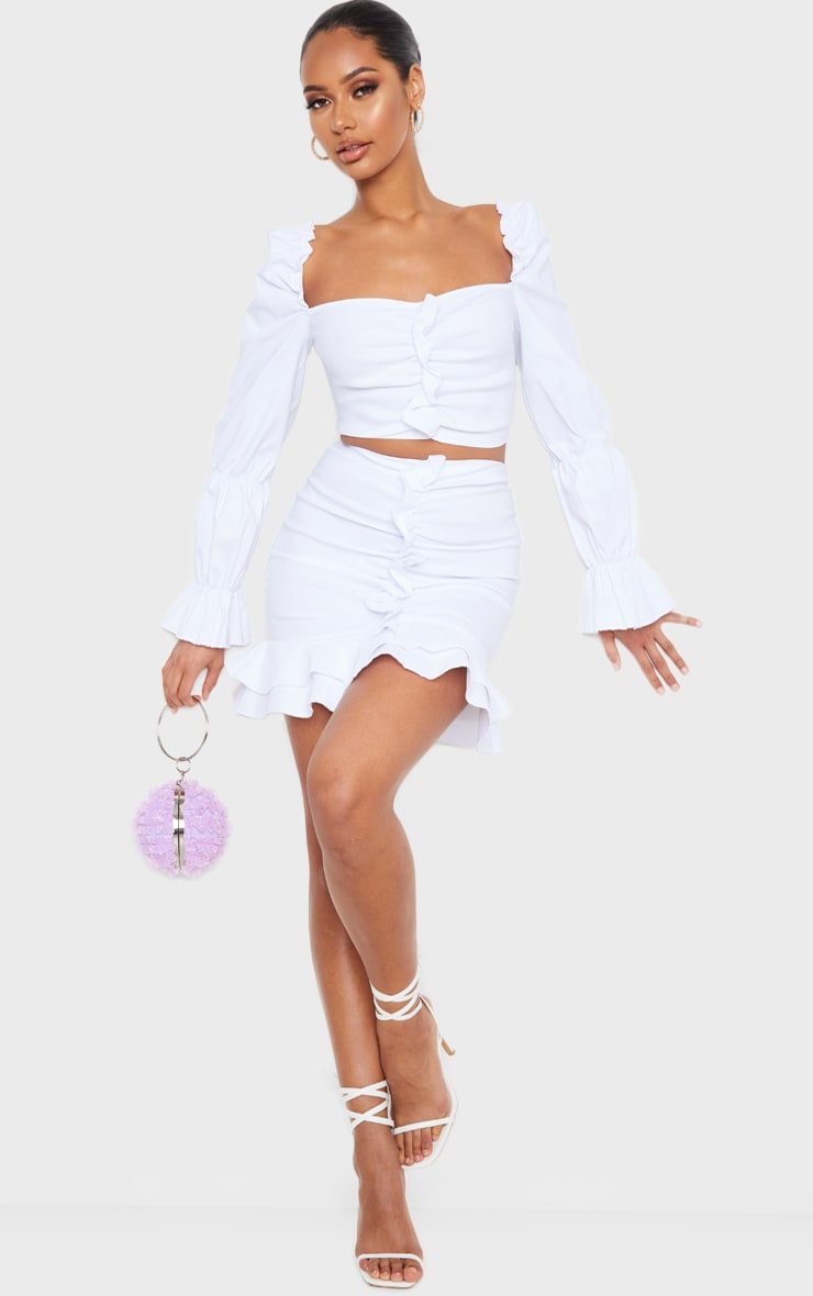 White Woven Stretch Frill Ruched Front Long Sleeve Crop Top 3