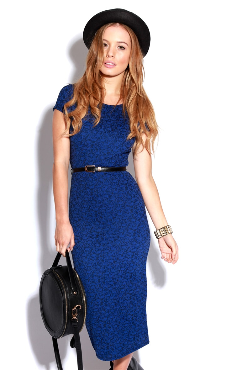 Paige Blue Flock Pattern Midi Dress 5