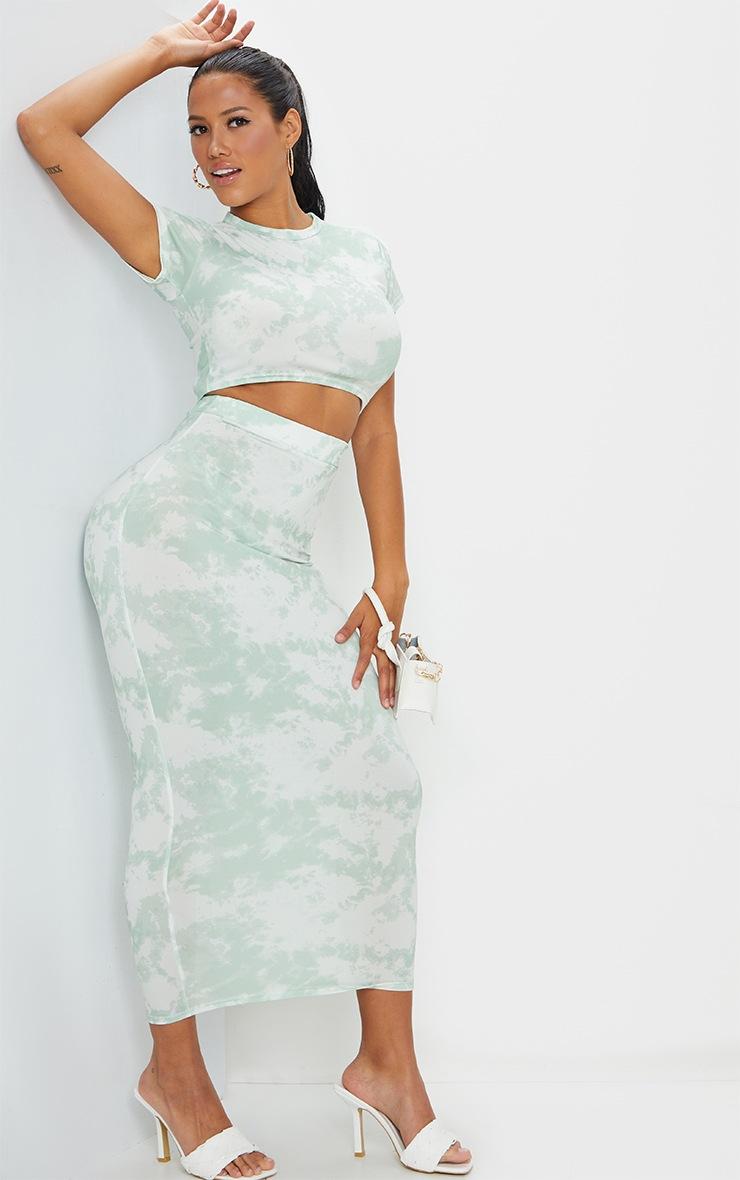 Shape Sage Green Tie Dye Short Sleeve Crop Top 3