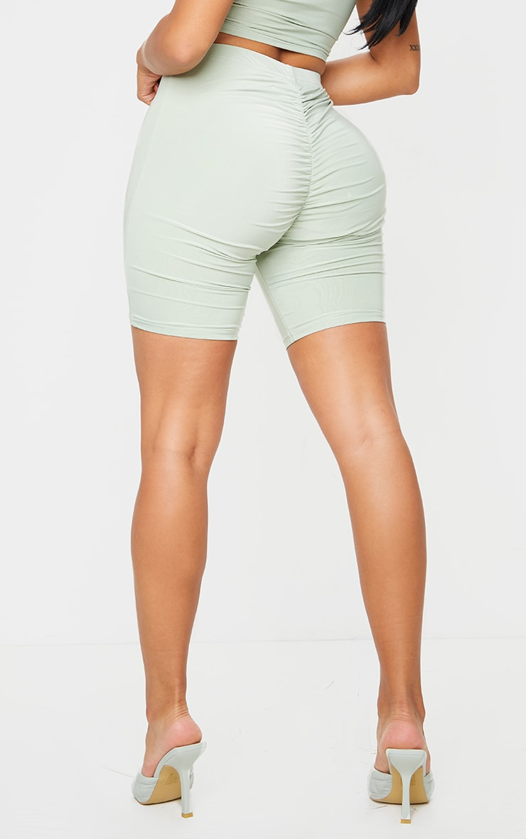Shape Sage Green Slinky Ruched Bum Cycling Shorts 3