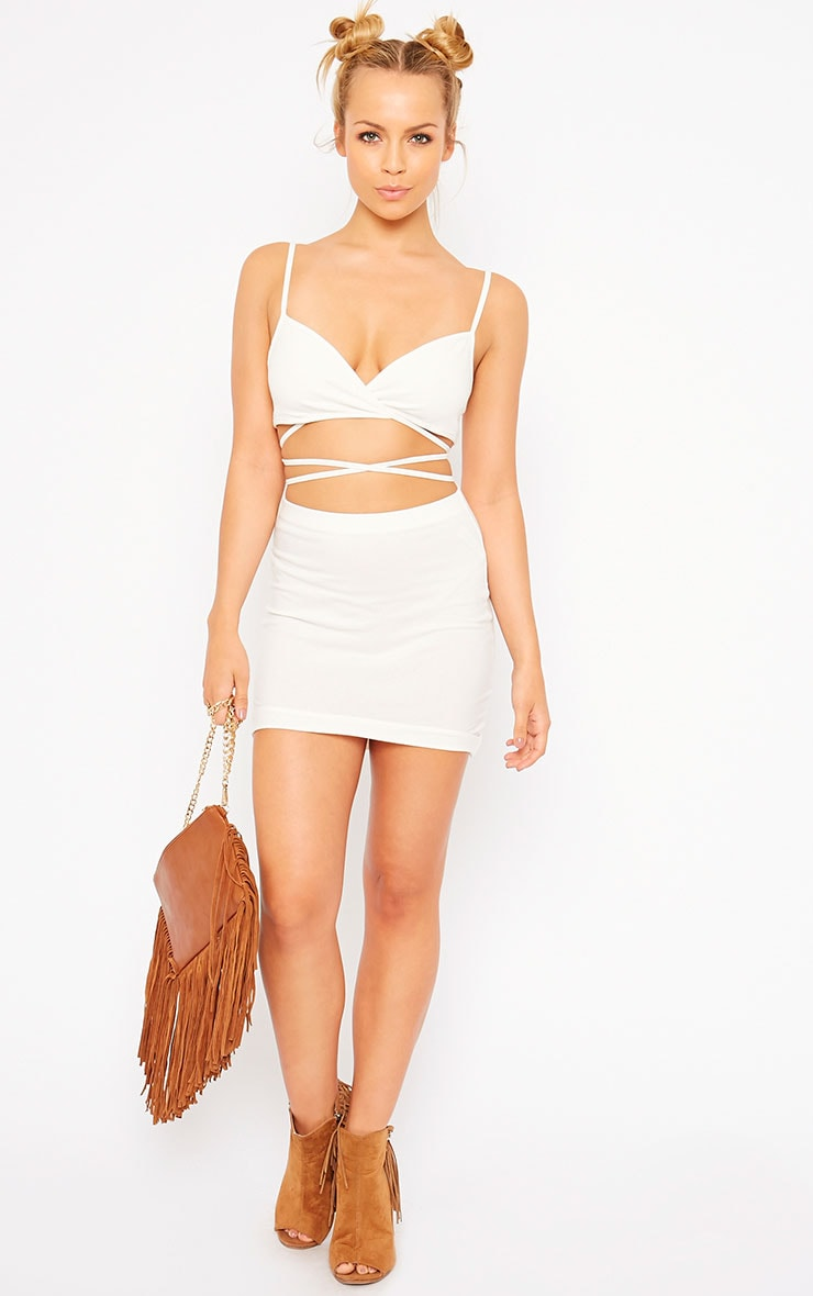 Phoenix Cream Curved Hem Mini Skirt 5
