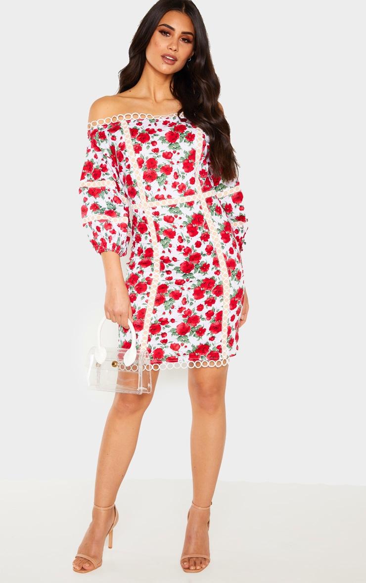 White Floral Print Balloon Sleeve Bardot Bodycon Dress 4