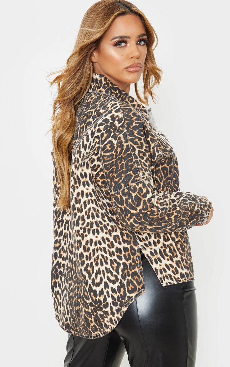 Petite Tan Leopard Oversized Denim Shirt 2