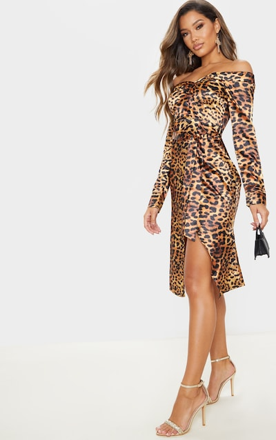 Tan Leopard Print Satin Bardot Lapel Detail Wrap Midi Dress