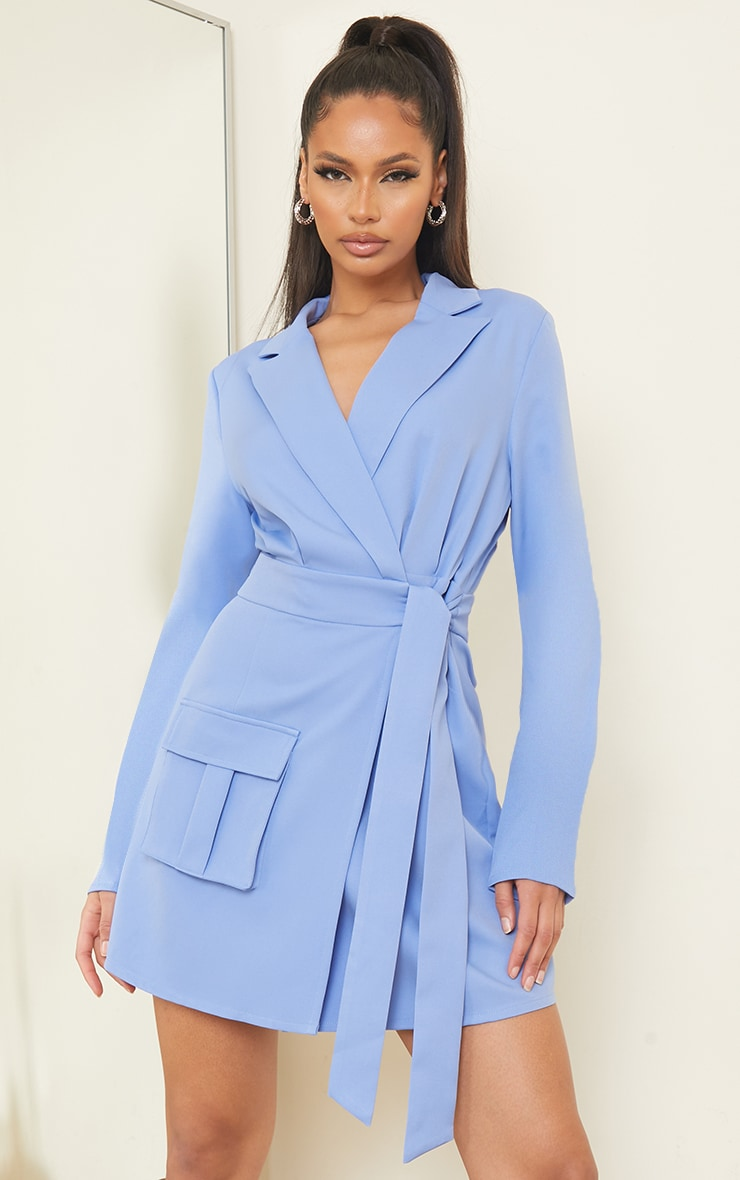Blue Tie Waist Wrap Detail Blazer Dress 3