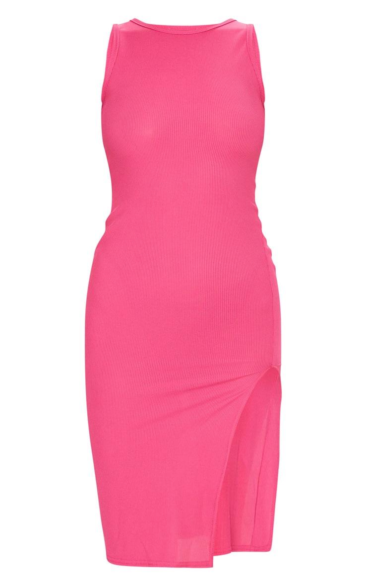 Hot Pink Ribbed Split Detail Midi Dress 5