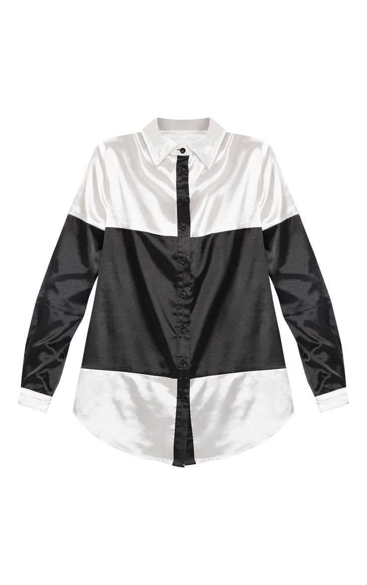 Monochrome Satin Colourblock Oversized Shirt 3