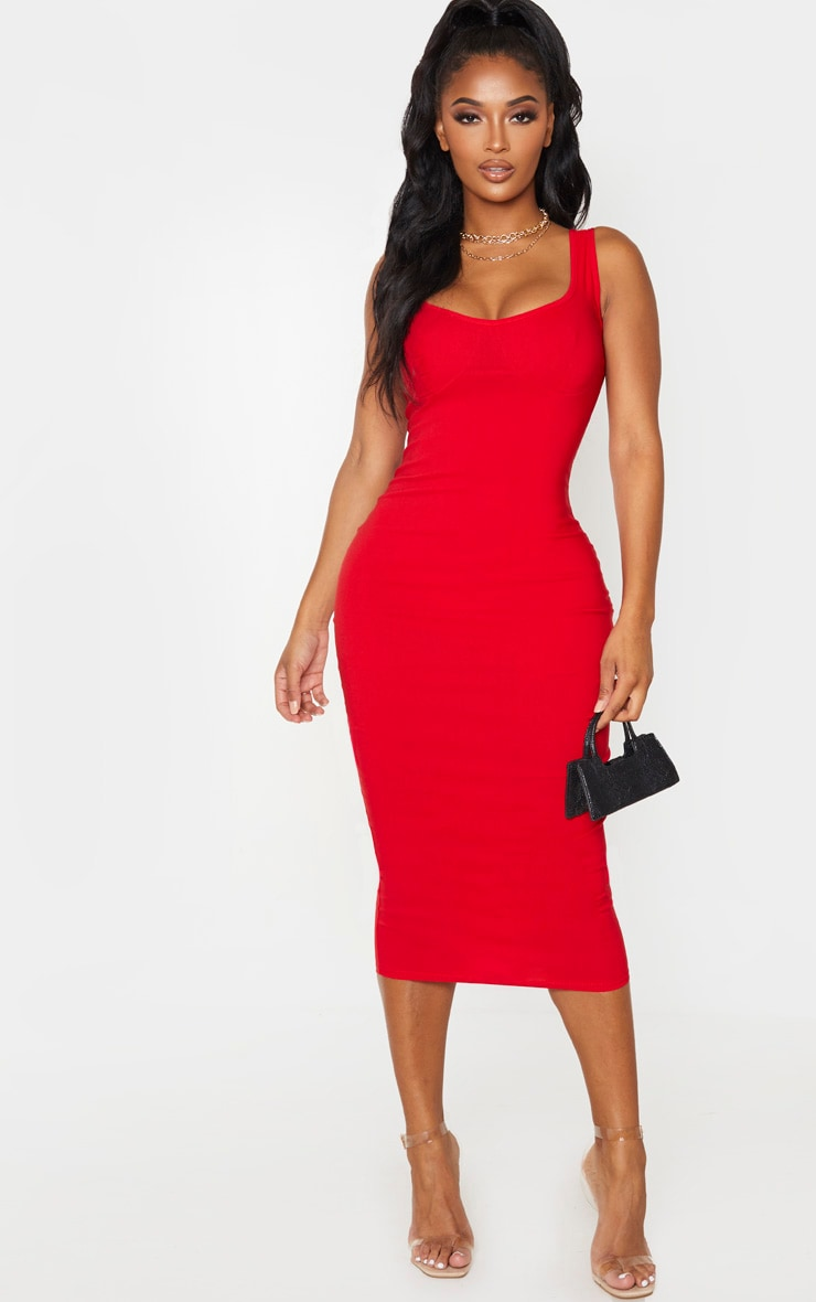 Shape Red Cup Detail Strappy Midi Dress