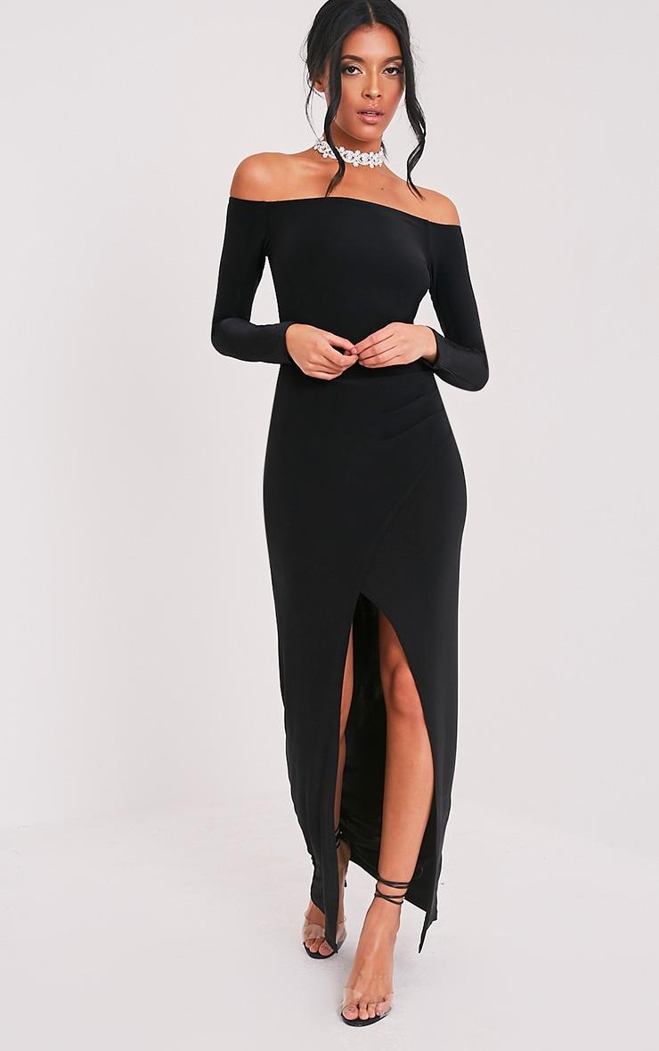 Sharlotte robe maxi bardot cache-cœur près du corps noire 5