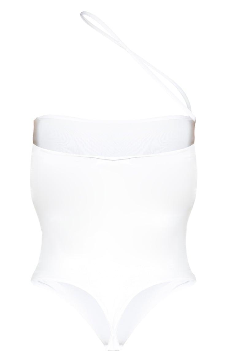 White Asymmetric Strap Bandeau Slinky Bodysuit 4
