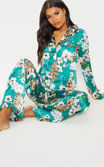 Emerald Tiger Blossom Wide Leg Satin Pyjama Set b6eb81bc5
