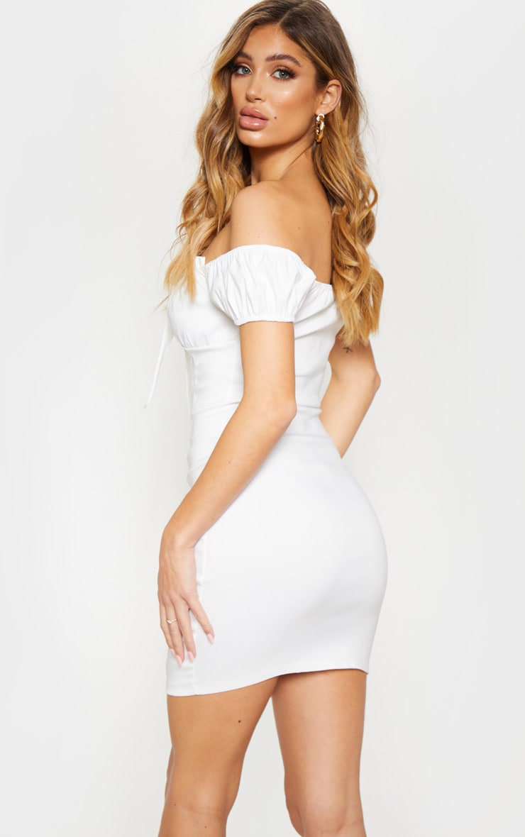 White Woven Bardot Tie Front Bodycon Dress 2