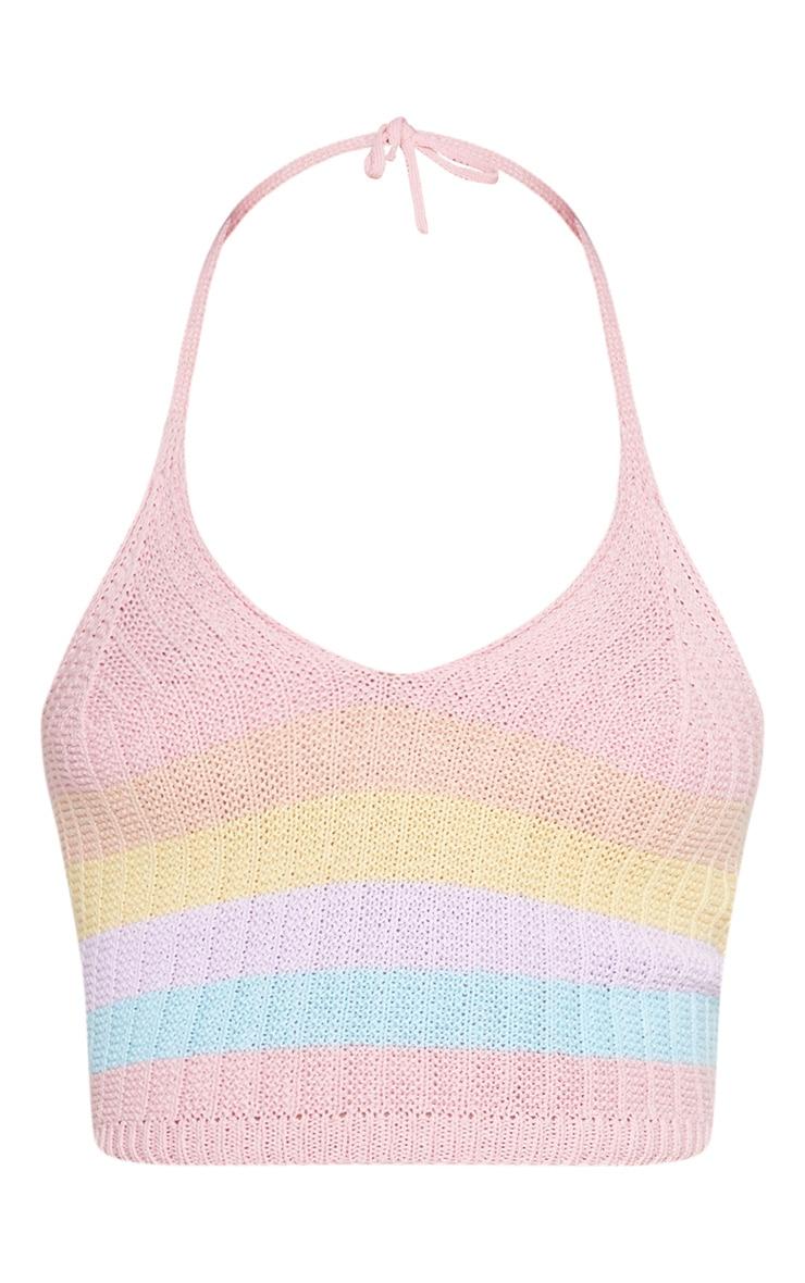 Pastel Rainbow Halterneck Knitted Top 3