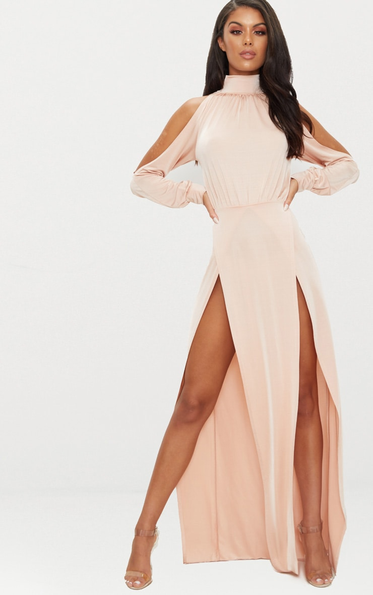 Nude High Neck Double Extreme Split Maxi Dress 1