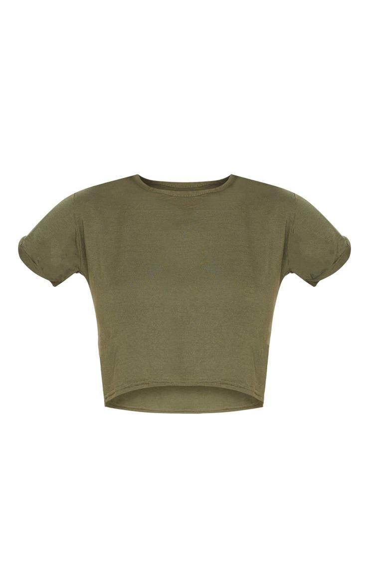 Basic Khaki Roll Sleeve Crop T Shirt 5