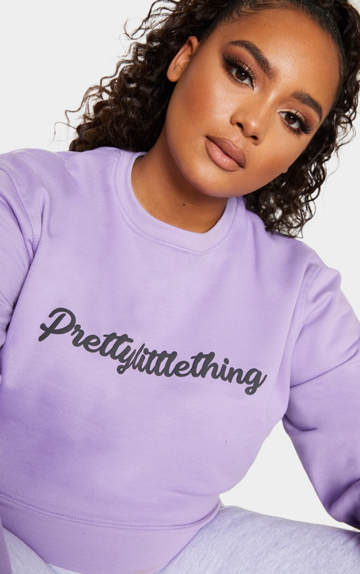 PRETTYLITTLETHING Plus Lilac Slogan Sweater 4