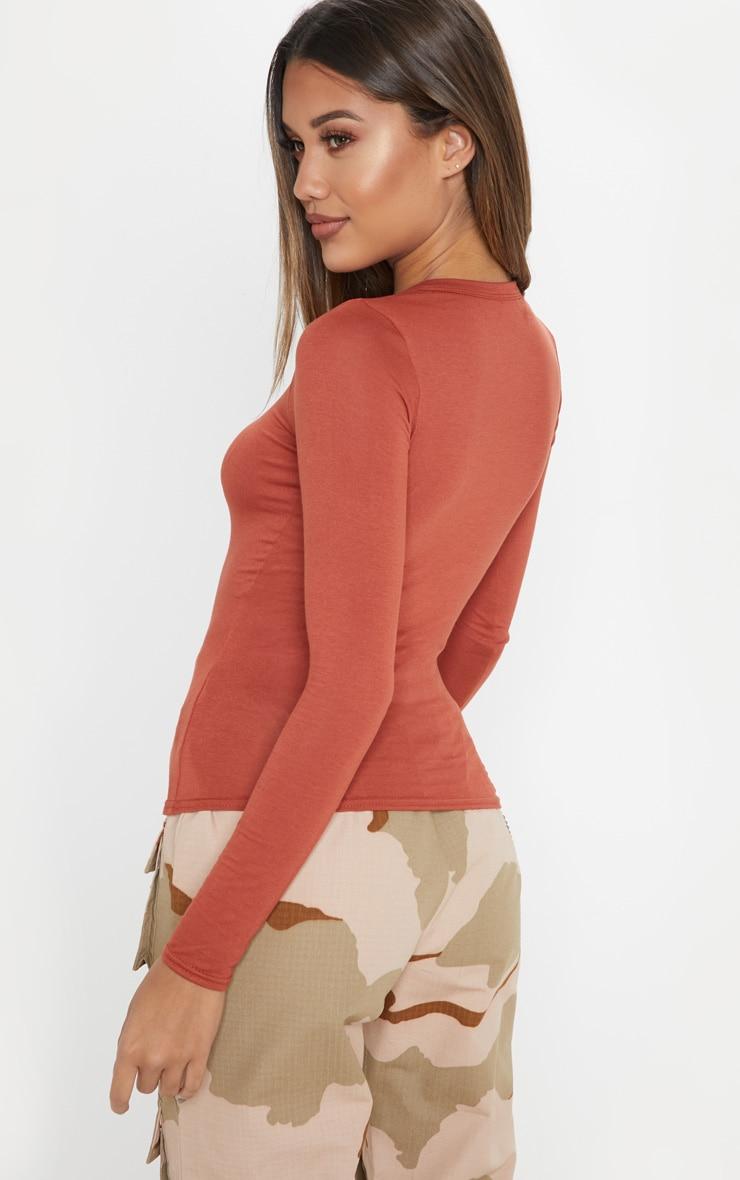 Basic Burnt Orange Long Sleeve Fitted T Shirt 2