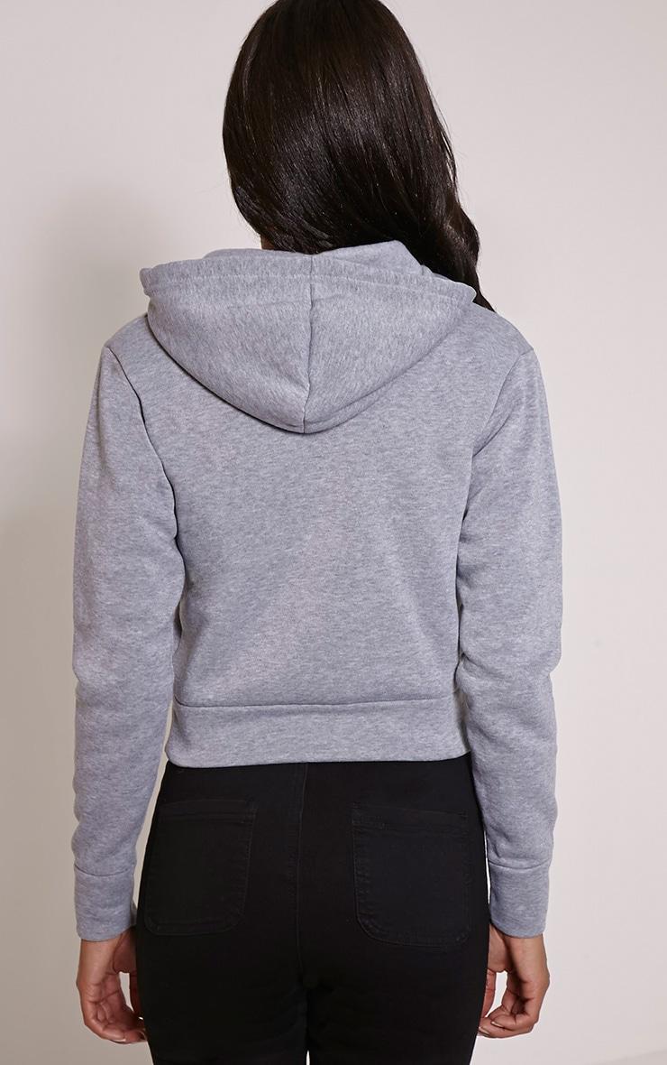 Belle sweat à capuche court gris 2