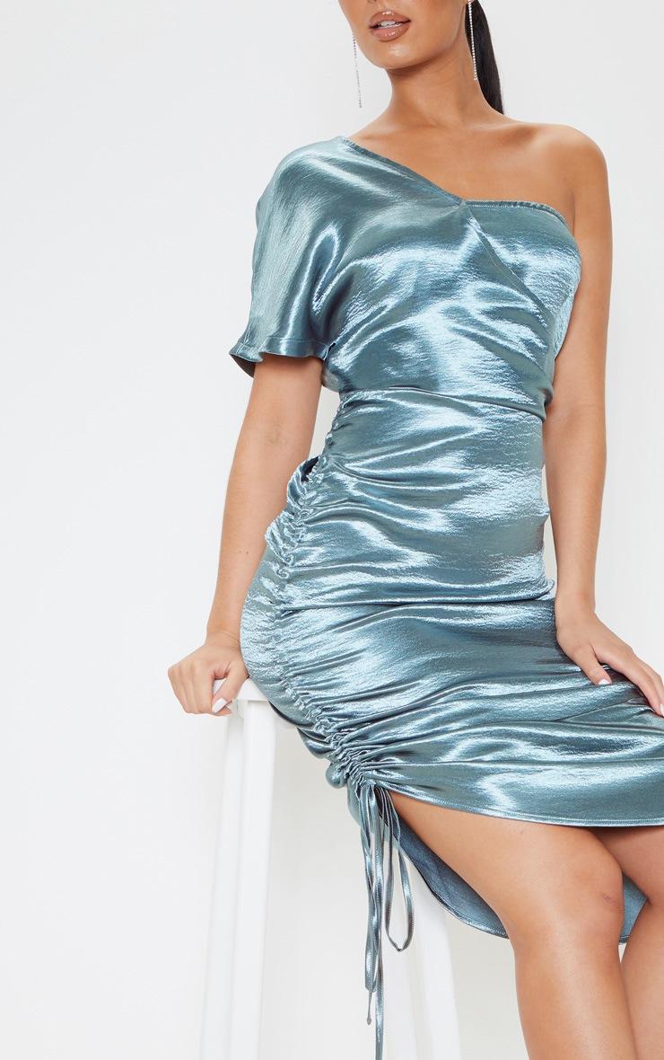 Teal One Shoulder Ruched Side Satin Midi Dress 5