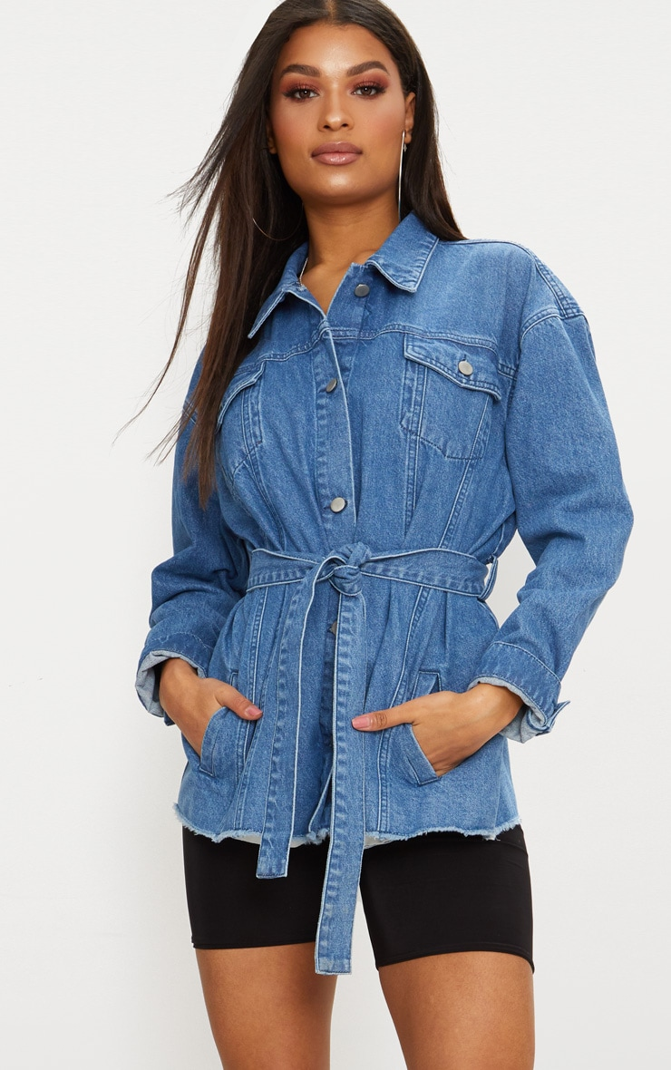 Mid Wash Tie Waist Oversized Denim Jacket