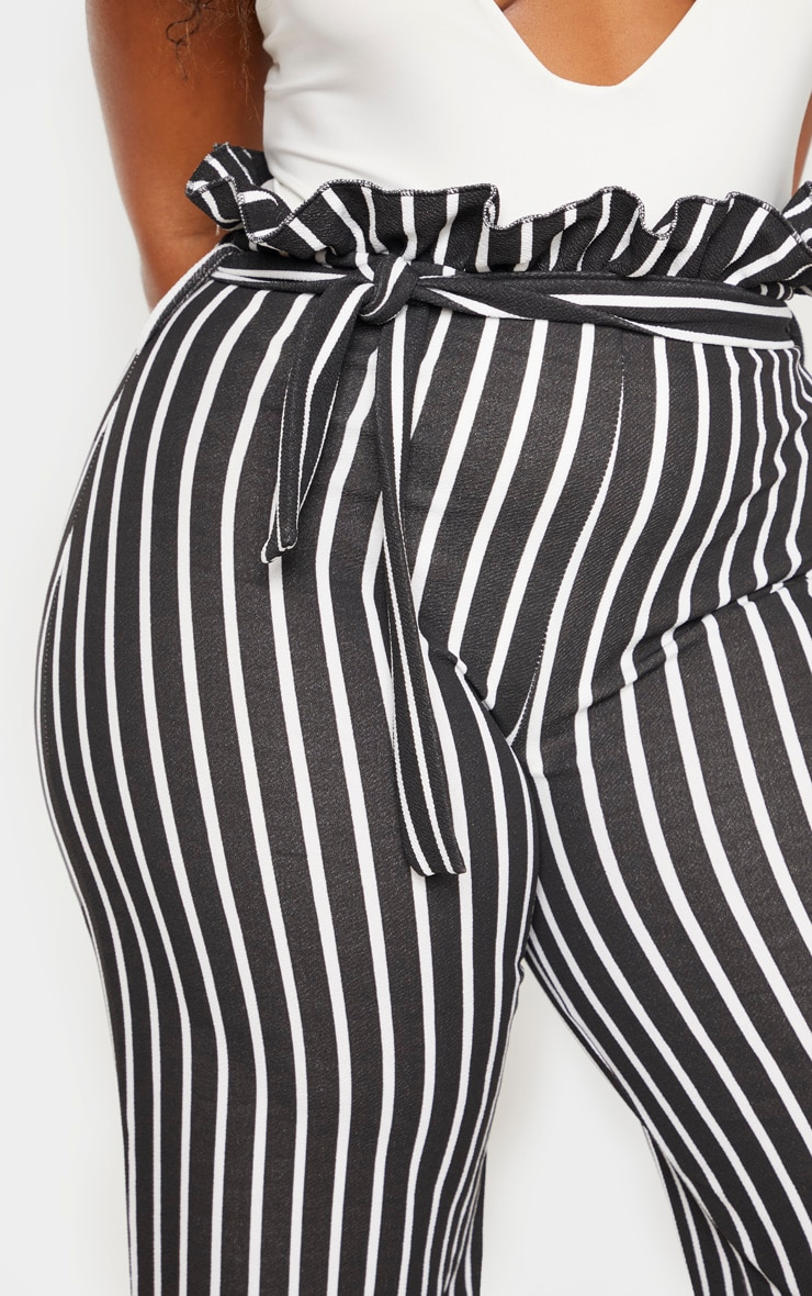 Plus Black Striped Paperbag High Waisted Wide Leg Pants 5