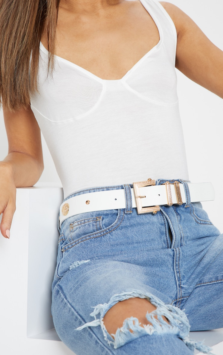 White Textured Buckle Stud Detail Belt