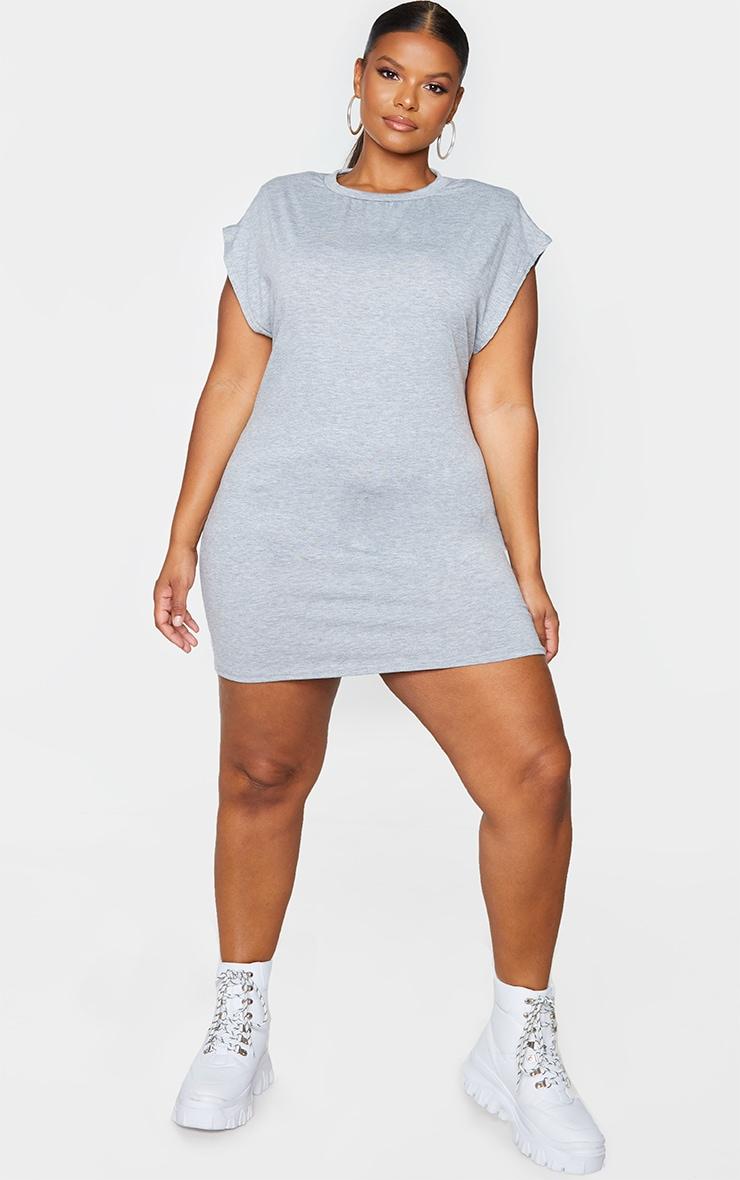 Plus Grey Shoulder Pad Jersey T-Shirt Dress 1