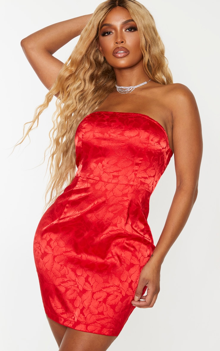 Shape Red Printed Satin Bandeau Bodycon Dress 1
