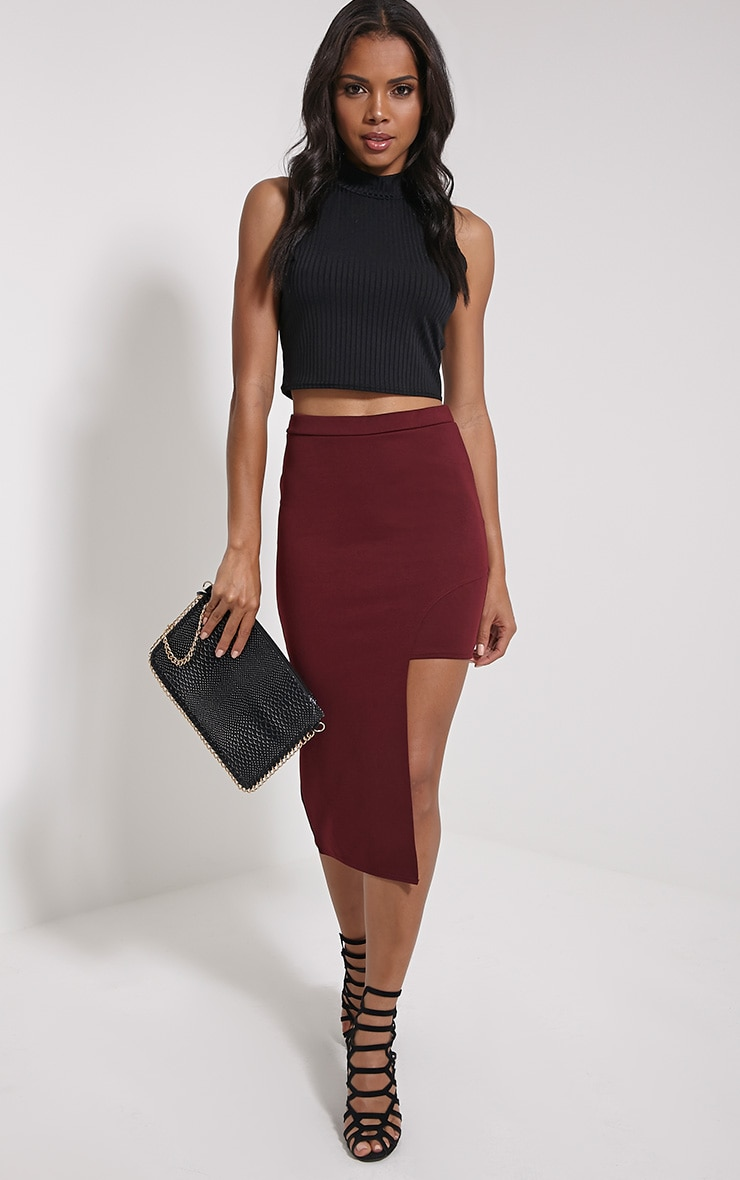 Joslyn Oxblood Asymmetric Drop Hem Midi Skirt 1