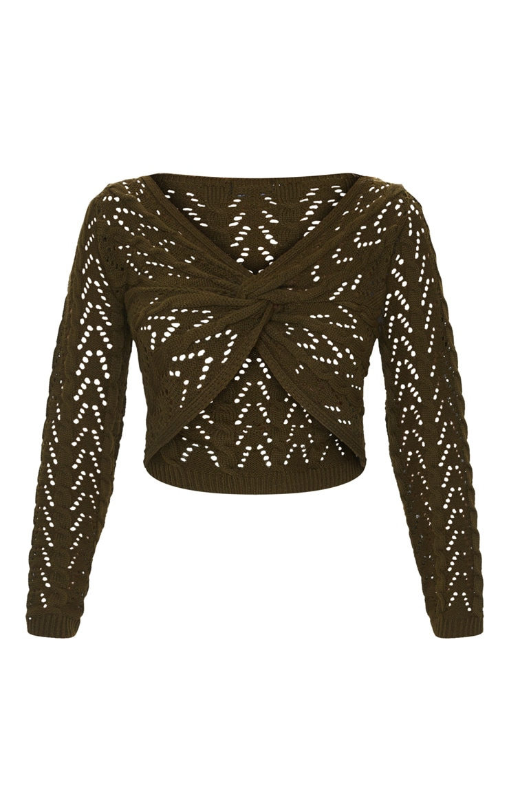 Khaki Twist Front Open Pointelle Sweater 5